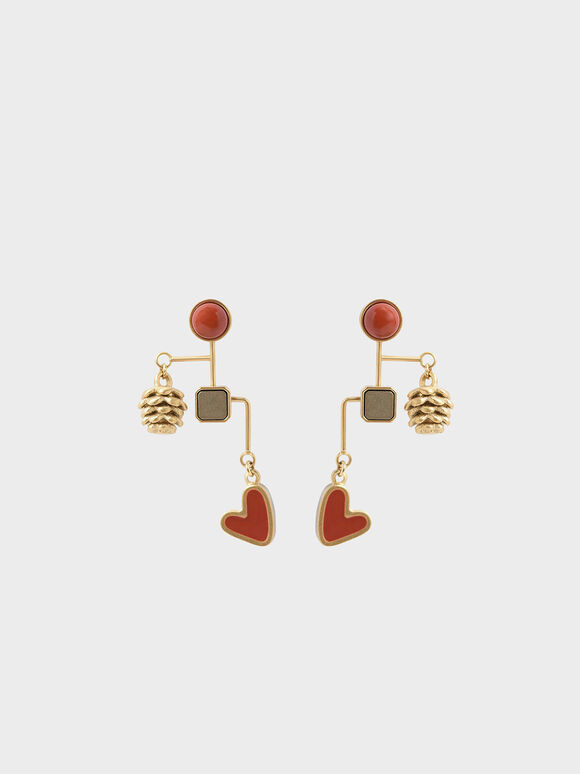 Red Jasper & Pyrite Gemstone Drop Earrings, Gold, hi-res