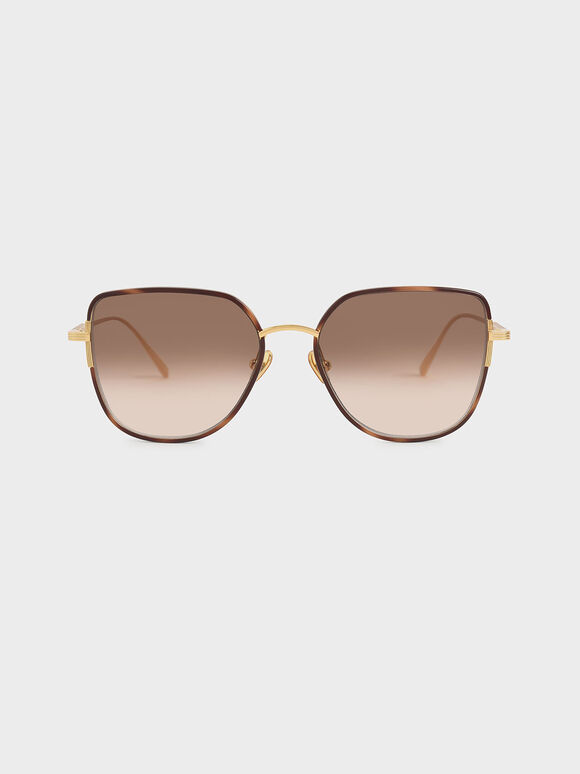 Cut-Out Frame Butterfly Sunglasses, T. Shell, hi-res