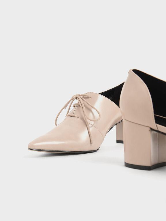 D'Orsay Oxford Block Heels, Nude