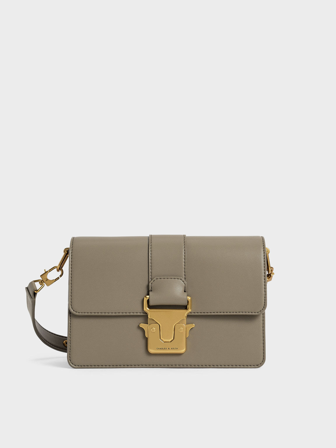 Metallic Accent Shoulder Bag, Taupe, hi-res