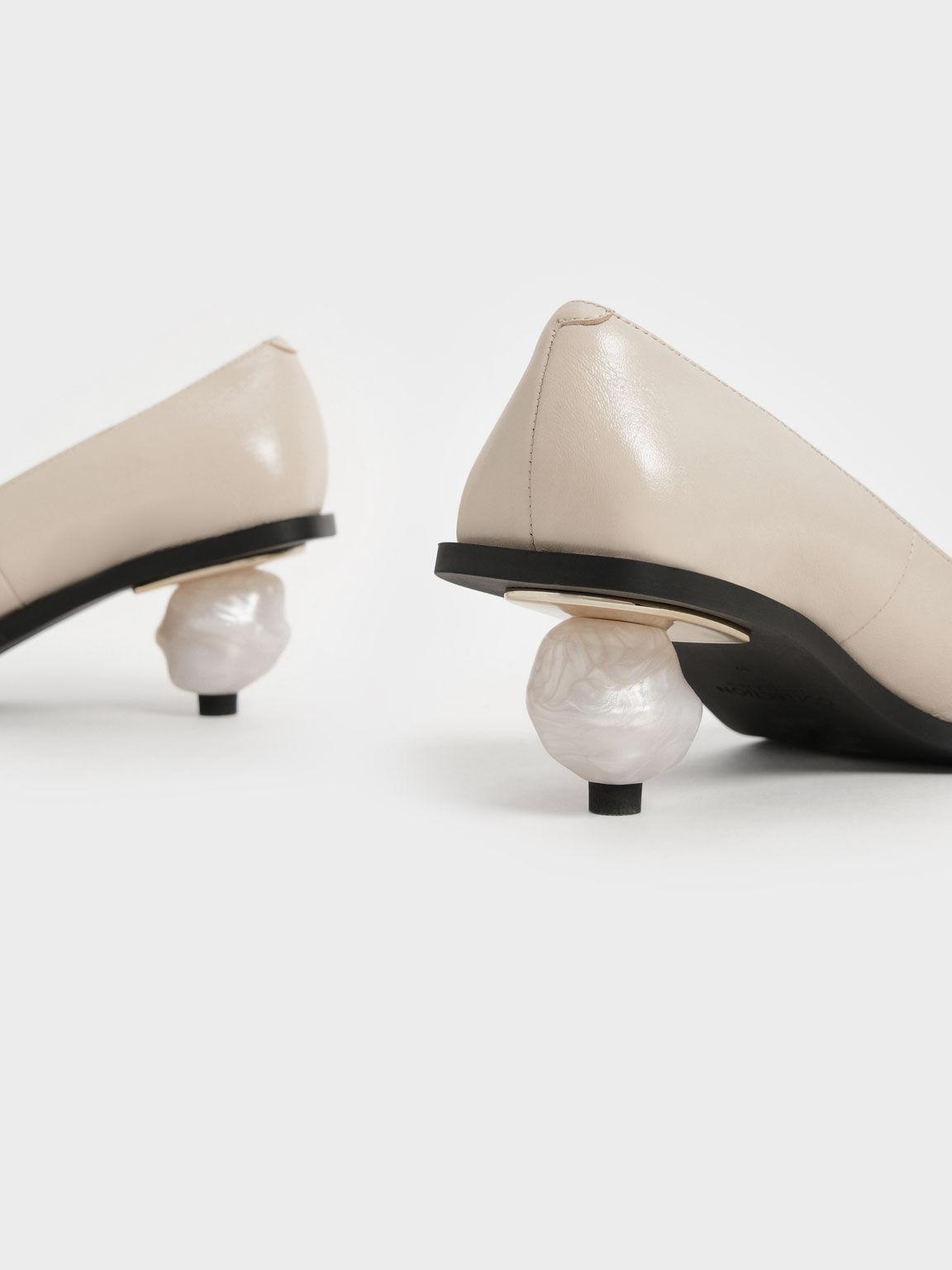 Sculptural Heel Pumps (Kid Leather), Beige, hi-res