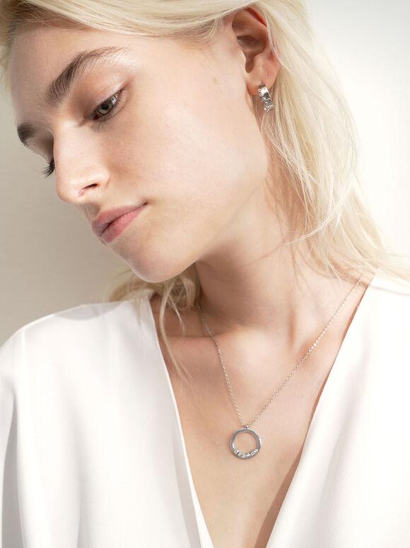 Swarovski® Crystal Studded Hoop Earrings, Silver, hi-res