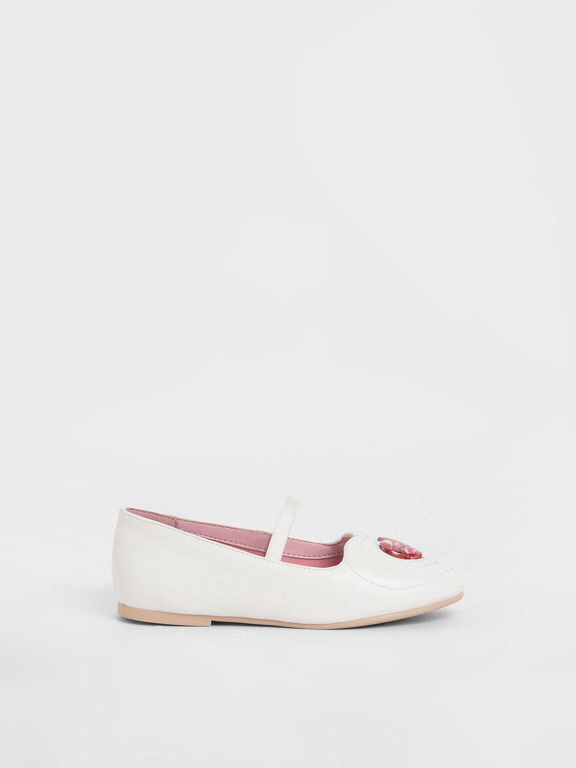 兒童亮片愛心平底鞋, 白色, hi-res