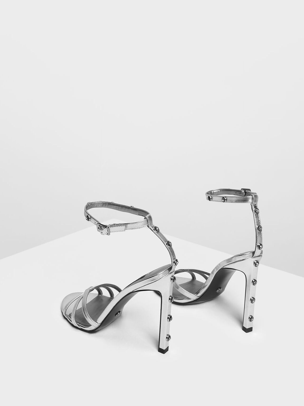 Gem Embellishment Leather Heeled Sandals, Silver, hi-res