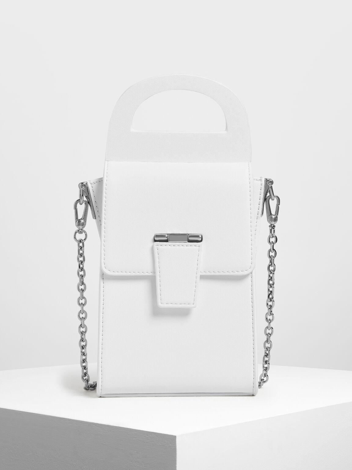 Chunky Buckle Angular Bag, White, hi-res