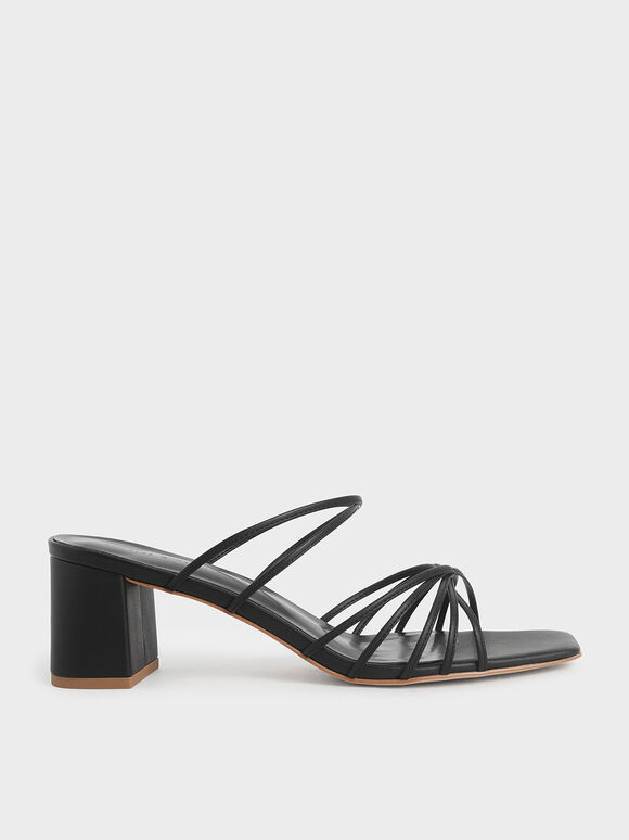 Strappy Square Toe Sandals, Black, hi-res