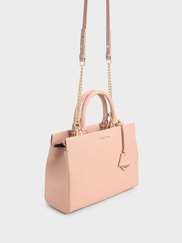 簡約拉鍊手提包, 嫩粉色, hi-res