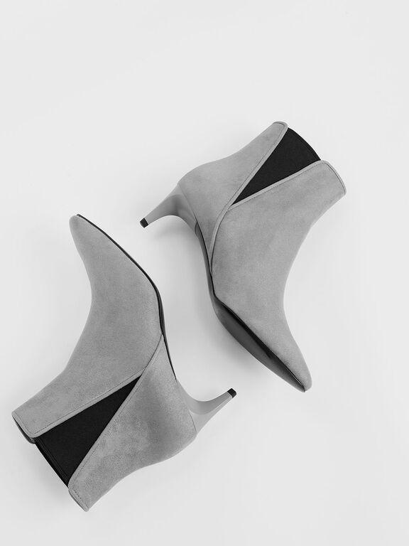 Kitten Heel Textured Chelsea Boots, Grey