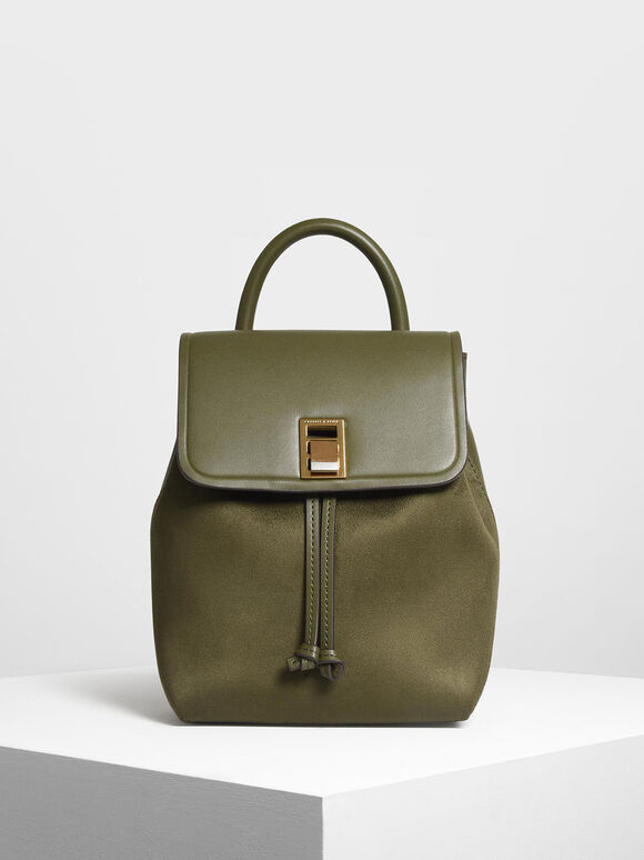 Classic Push Lock Backpack, Olive, hi-res