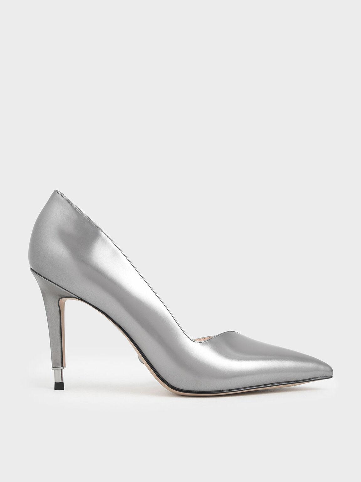 Metallic Leather D'Orsay Pumps, Silver, hi-res