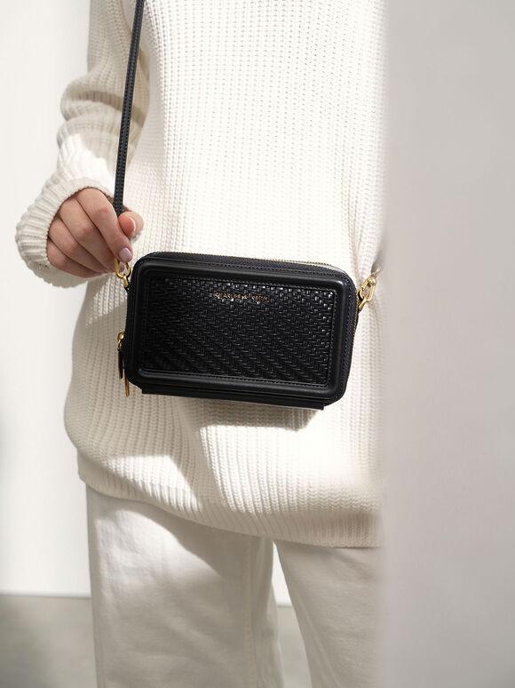 Woven Zip Around Wallet, Black, hi-res