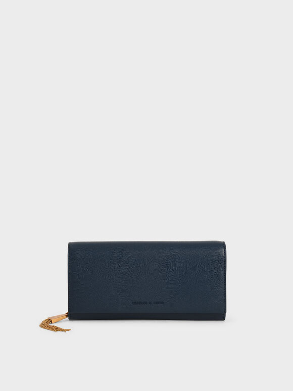 Tassel Detail Long Wallet, Blue, hi-res