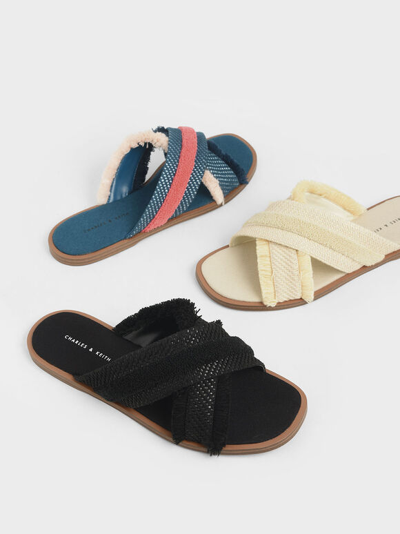 Woven Slide Sandals, Black, hi-res