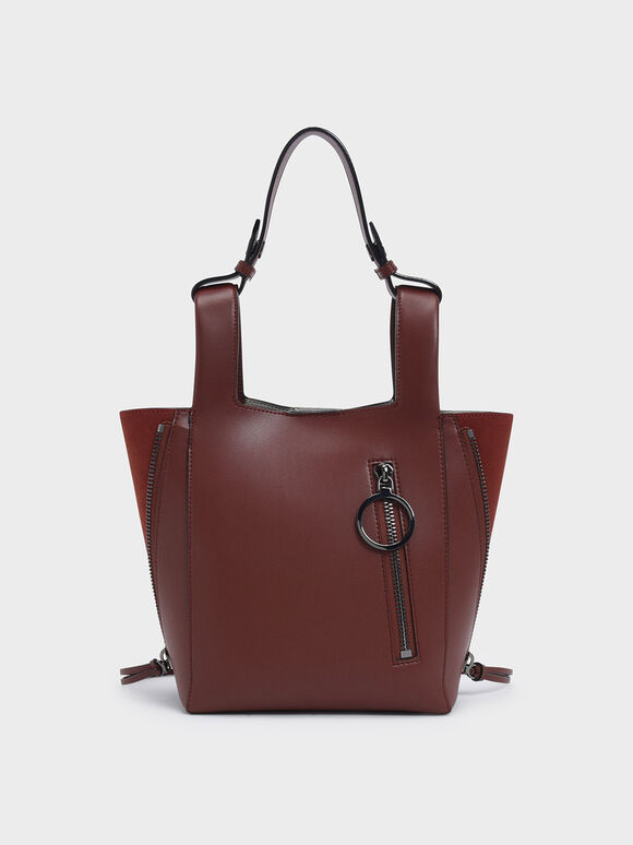 Ring Zip Pocket Square Handle Trapeze Tote, Burgundy, hi-res