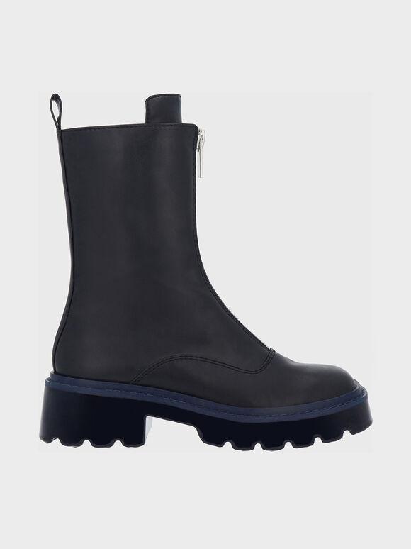 Billie Front-Zip Ankle Boots, Black Textured, hi-res