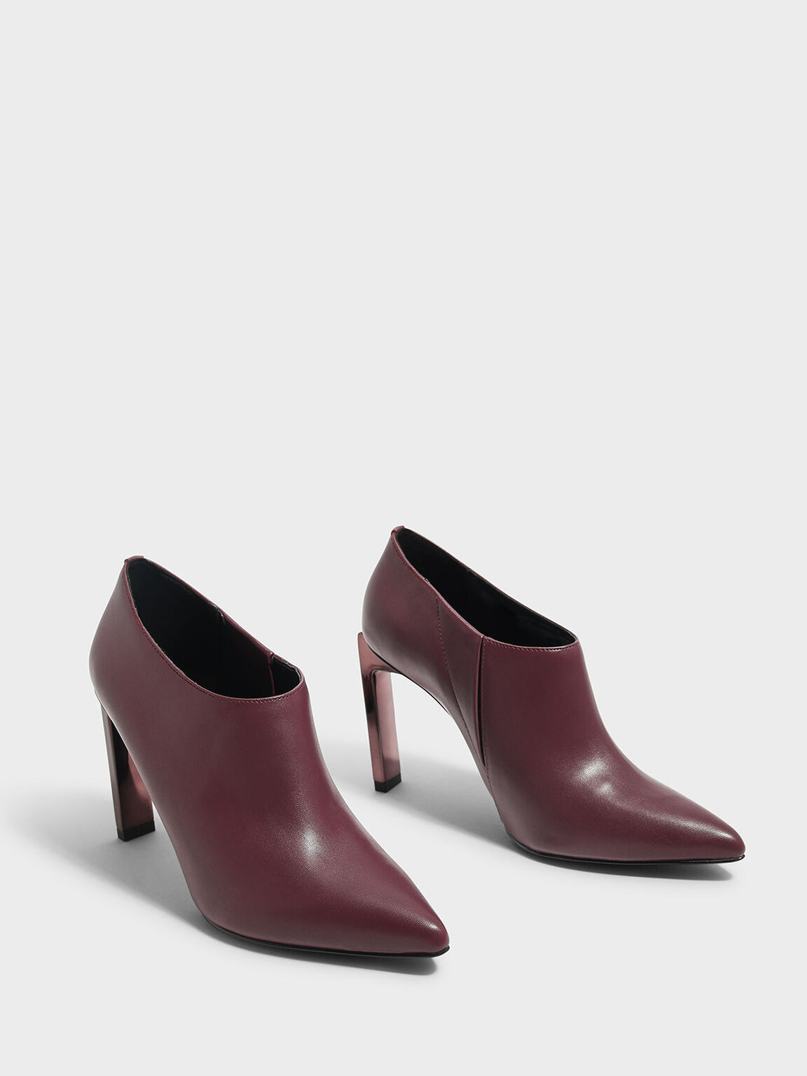 Blade Heel Booties, Burgundy, hi-res