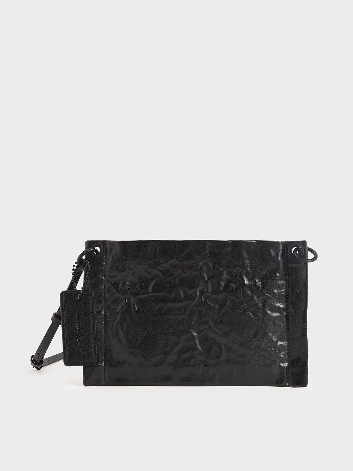 Crumpled-Effect Zip Clutch, Black, hi-res
