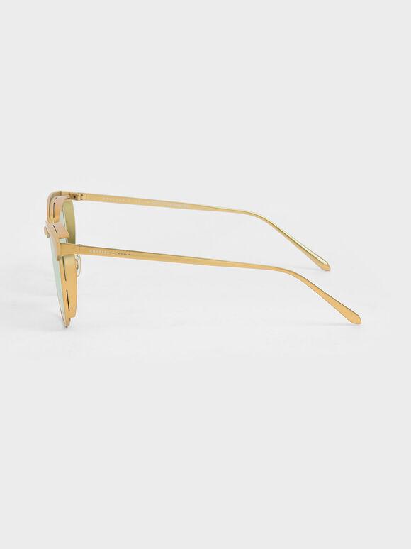 Tinted Rectangular Sunglasses, Green, hi-res