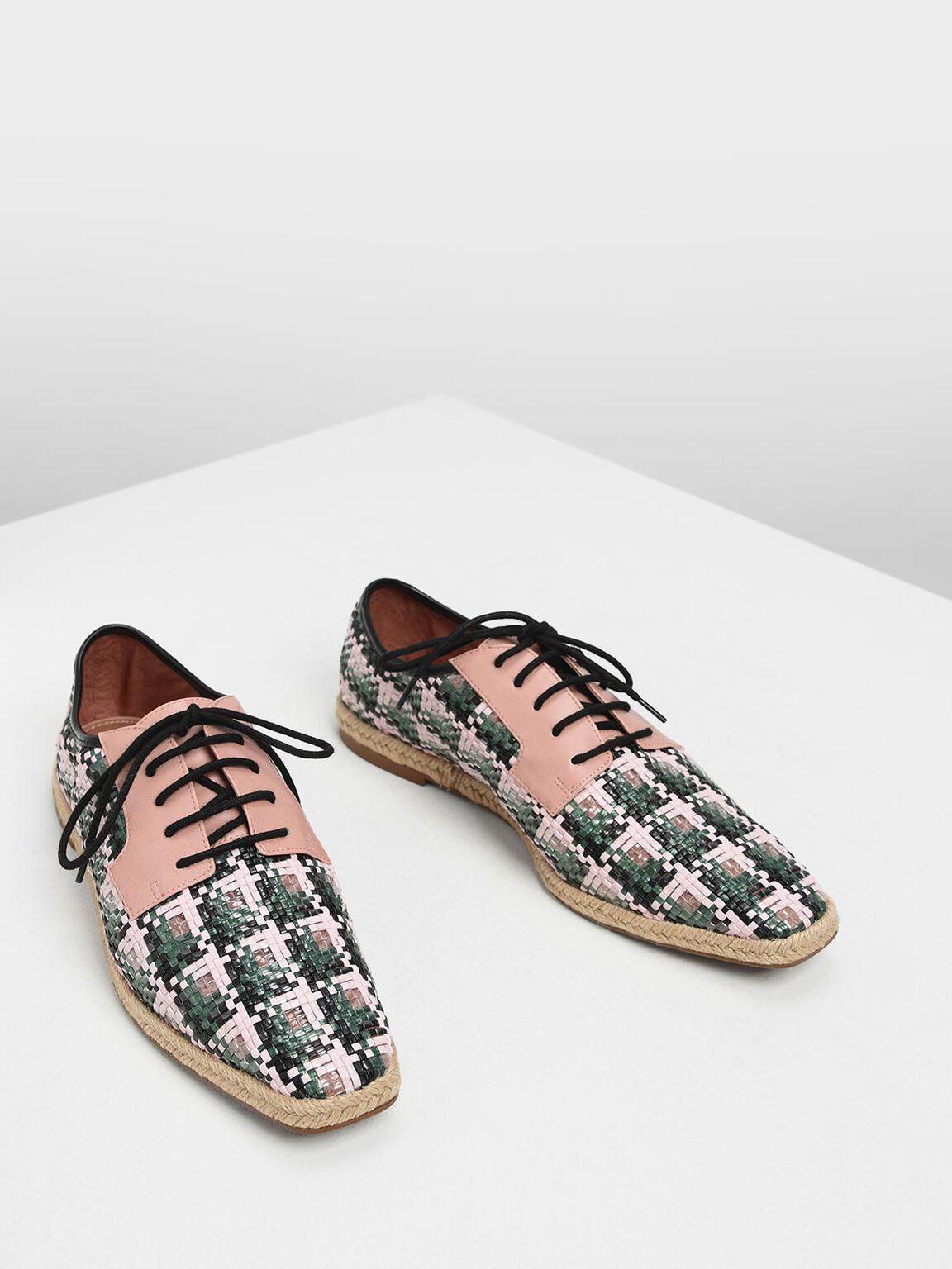 Raffia Derby Shoes, Blush, hi-res