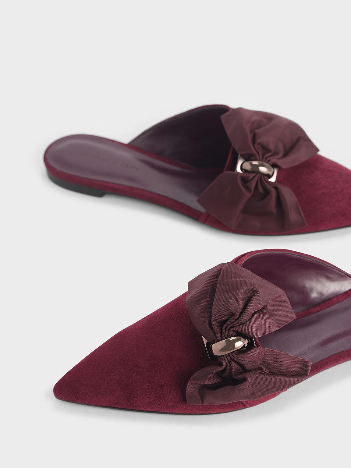 Oversized Bow Asymmetric-Cut Textured Mules, Purple, hi-res