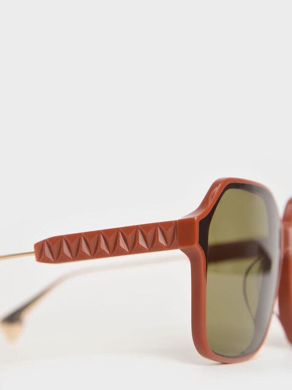 蝴蝶膠框墨鏡, 土色, hi-res