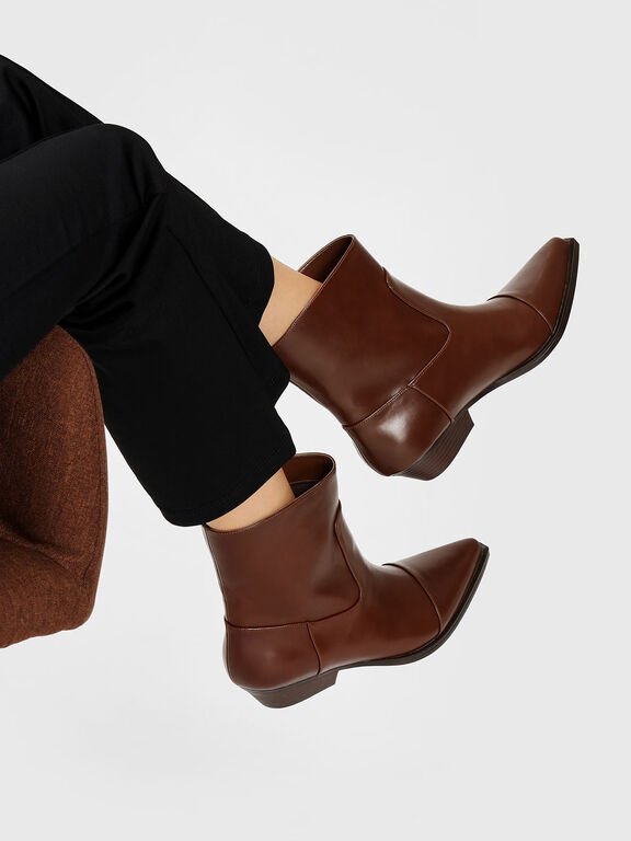 Pointed Calf Boots, Cognac