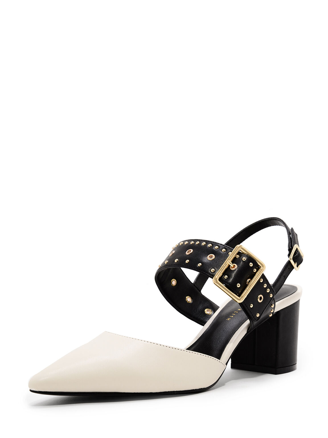 Studded Pointed Slingbacks, Chalk, hi-res