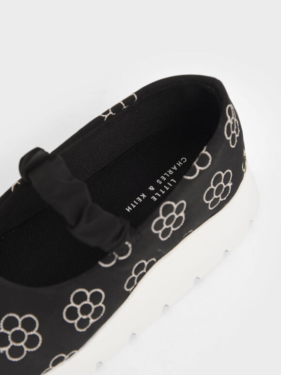 Girls' Printed Ruched Strap Slip-On Sneakers, Black, hi-res