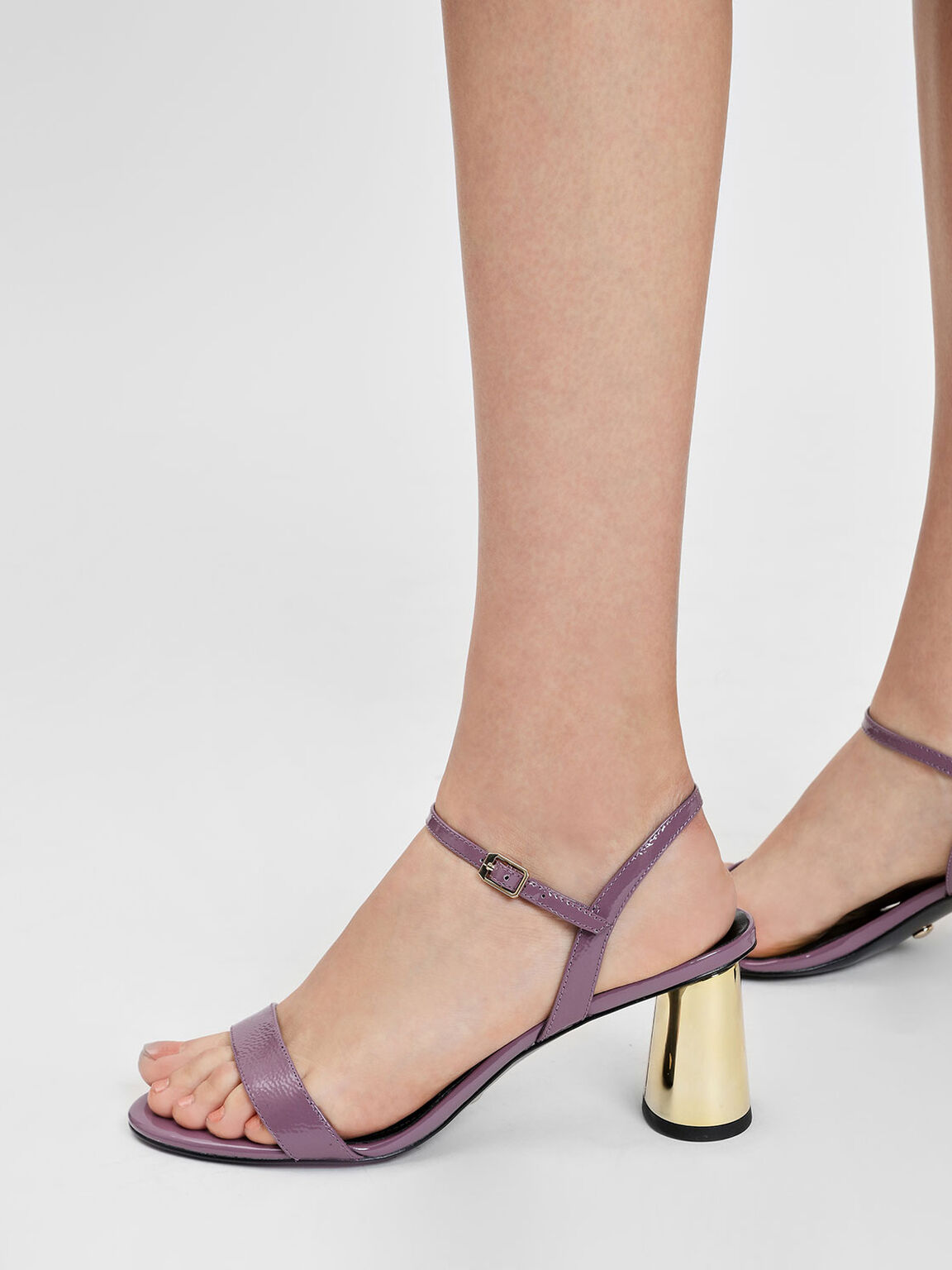 Chrome Heel Leather Sandals, Mauve, hi-res