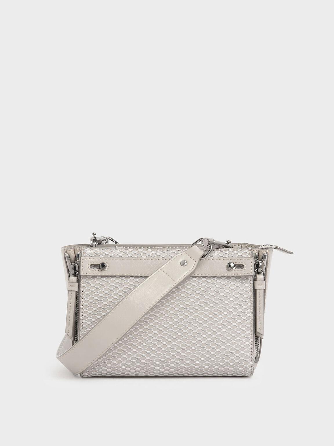 Rectangle Mesh Crossbody Bag, Cream, hi-res