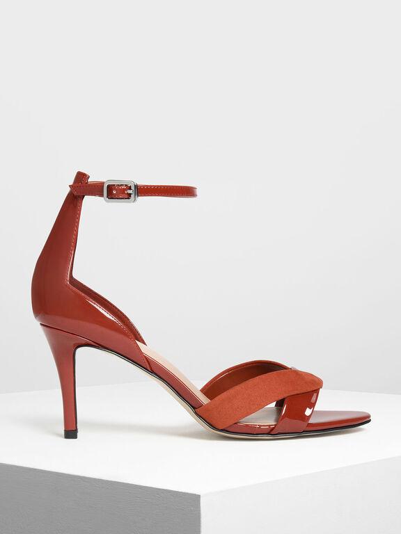 Contrast Texture Heeled Sandals, Orange, hi-res