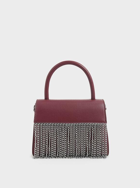 Metallic Fringe Top Handle bag, Burgundy, hi-res