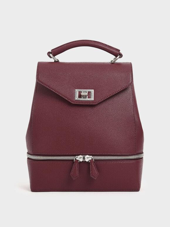Large Two-Way Zip Backpack, Burgundy, hi-res