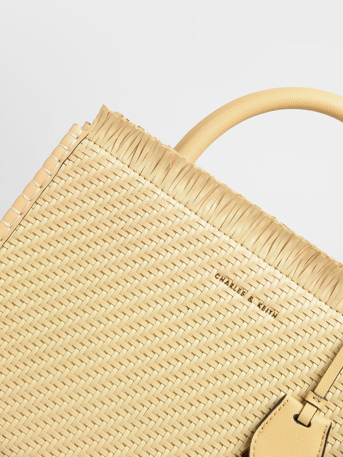 Frayed Woven Tote Bag, Yellow, hi-res