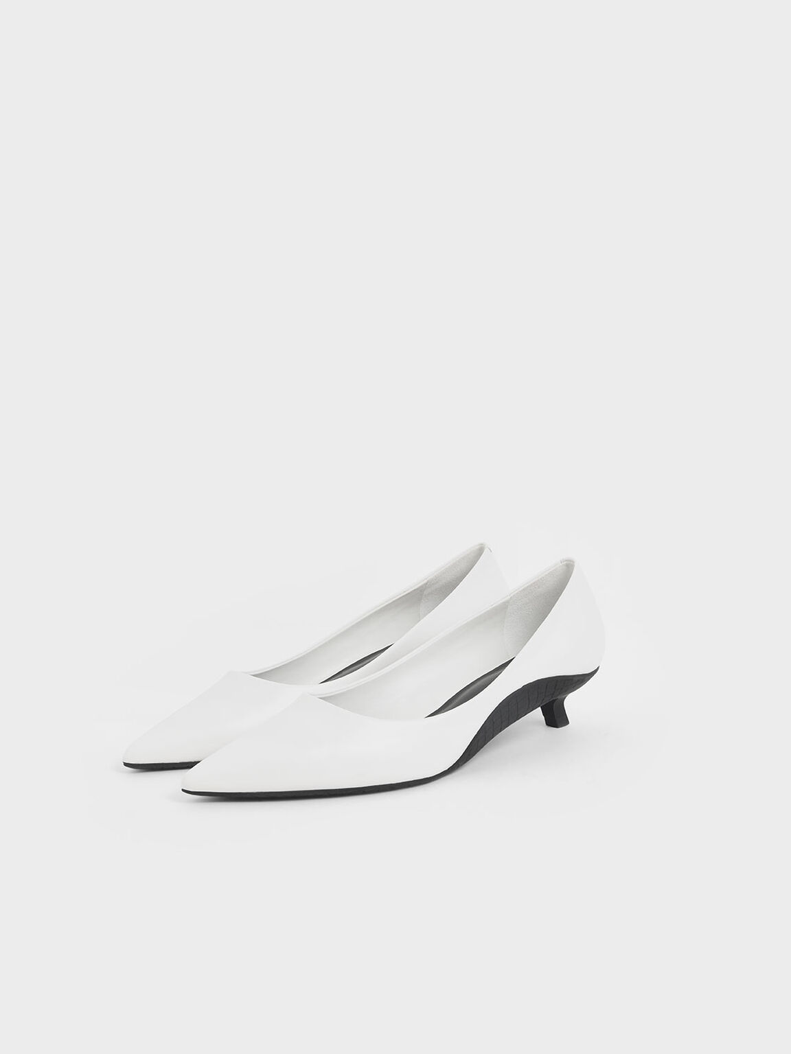 Two-Tone Kitten Heel Pumps, White, hi-res
