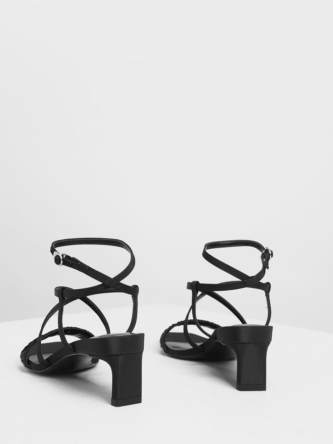 Ruch-Effect Strappy Sandals, Black, hi-res