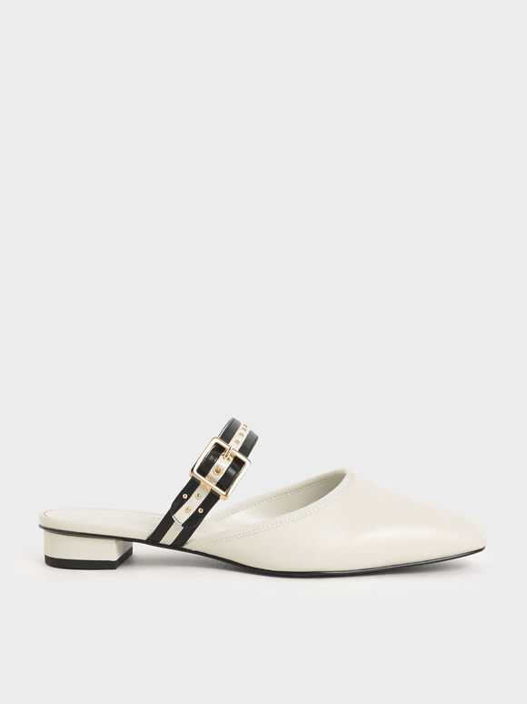 Studded Round Toe Mules, Chalk, hi-res