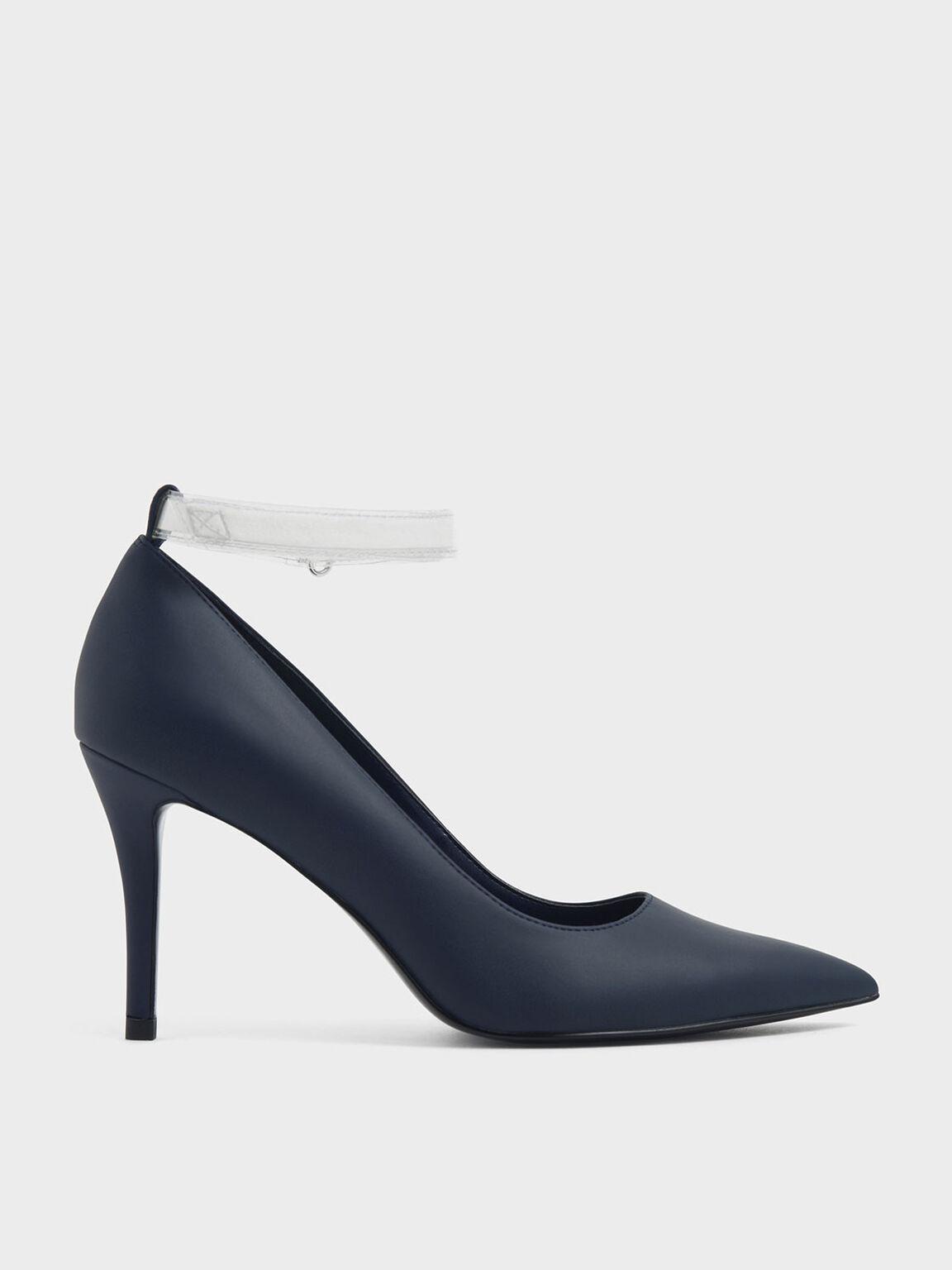 拼接繞踝高跟鞋, 深藍色, hi-res