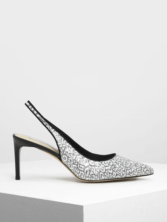 Glitter Fabric Pointed Toe Slingbacks, Black, hi-res