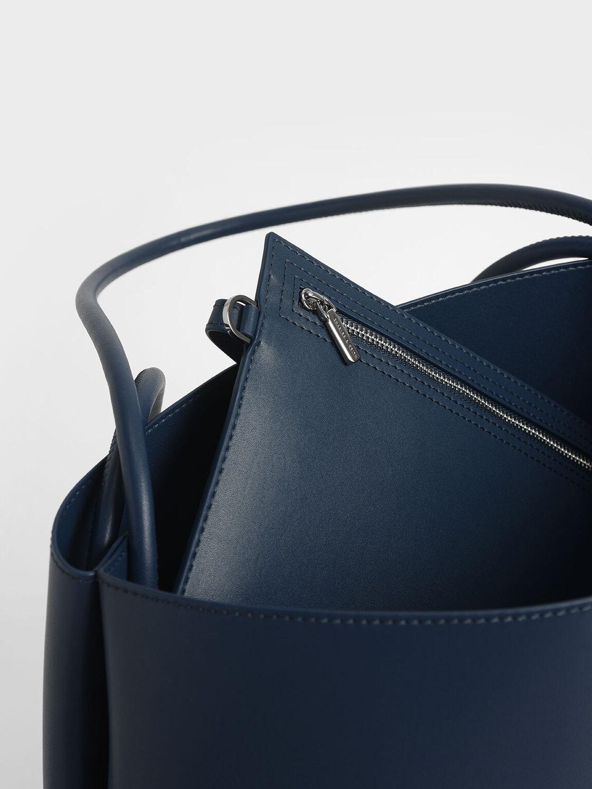 Double Handle Tote Bag, Blue, hi-res