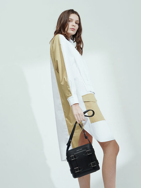 Buckle Bucket Bag, Black, hi-res