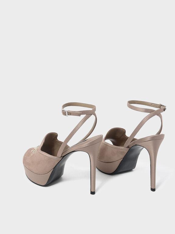 Embroidery Detail Platform Heels, Taupe, hi-res