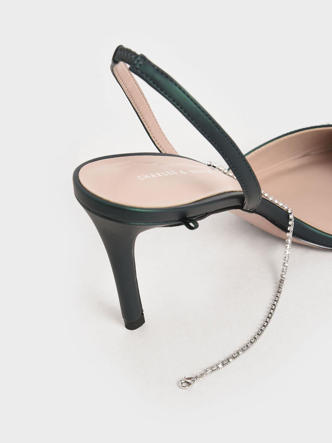 碎鑽細鍊高跟鞋, 深綠色, hi-res