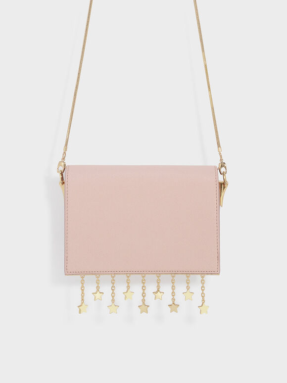 Charm Detail Crossbody Bag, Pink, hi-res