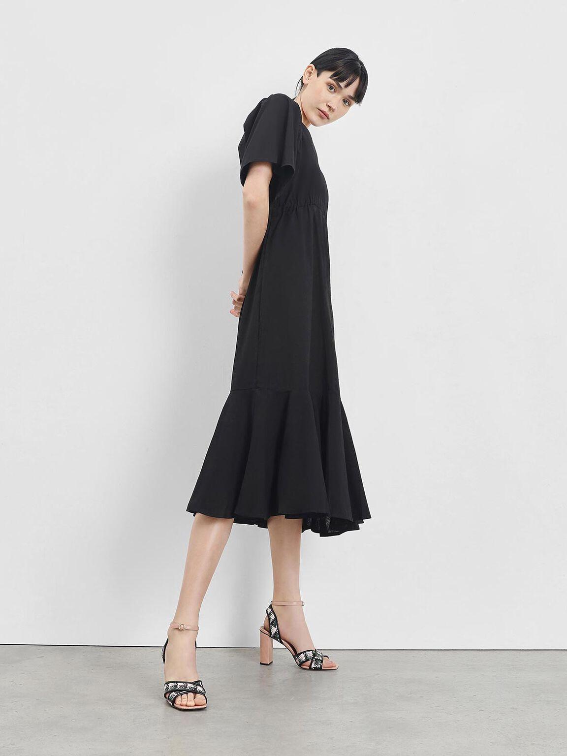 Woven Raffia Two-Tone Sandals, Blush, hi-res