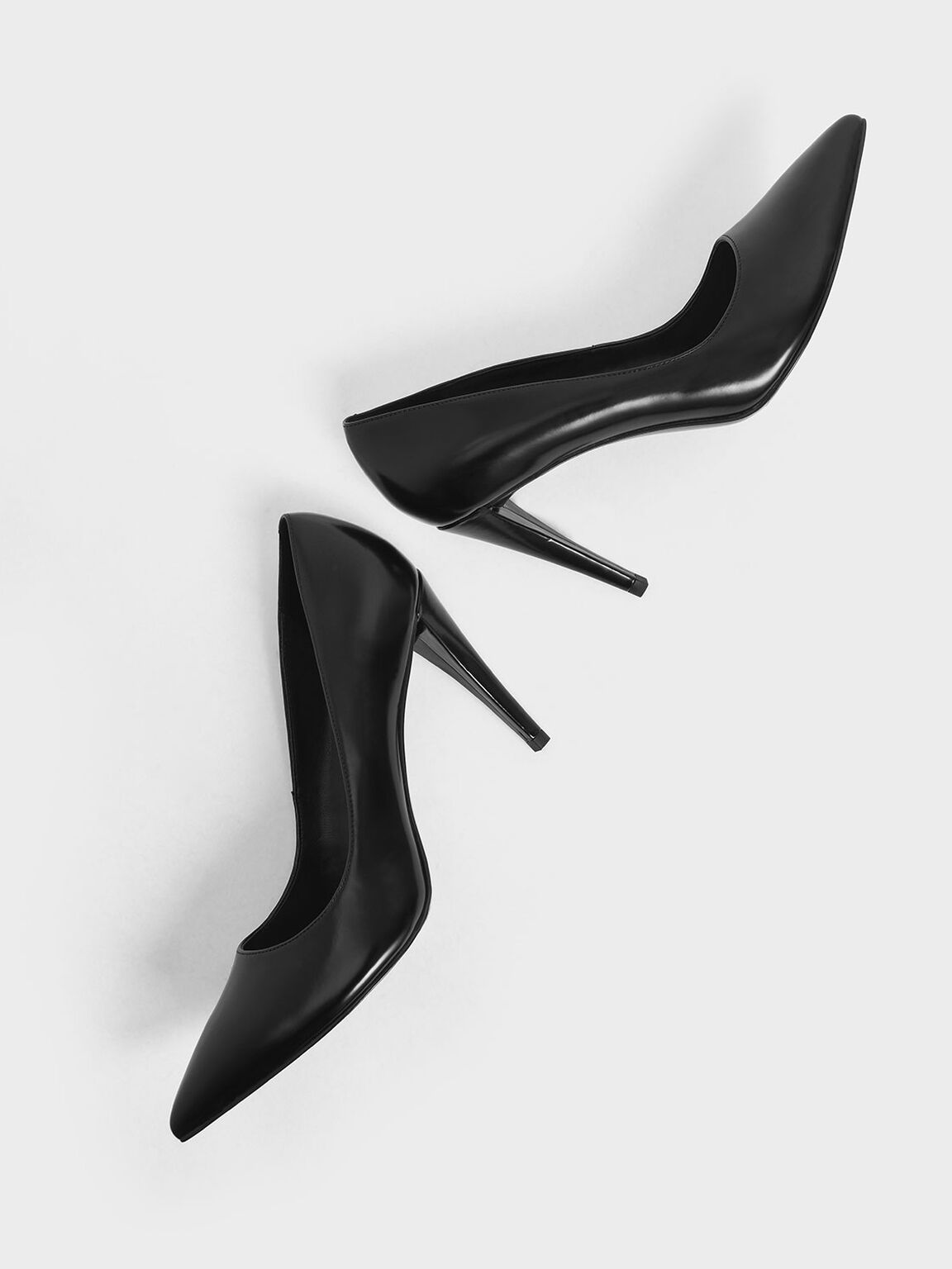 Pointed Toe Stiletto Pumps, Black, hi-res