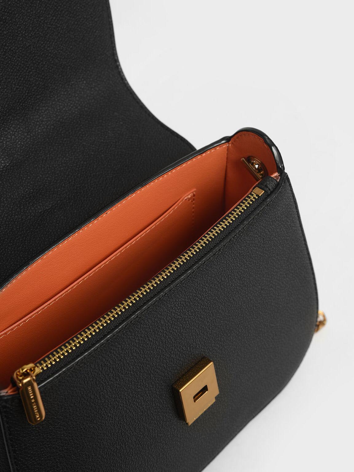 絲巾掀蓋手提包, 黑色, hi-res