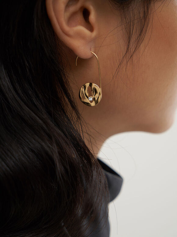 Medal Drop Earrings, Brush Gold, hi-res