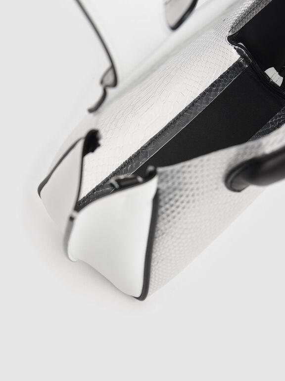 Metallic Snake Print Trapeze Bag, White