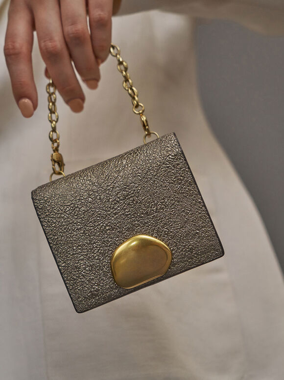 Metallic Accent Snap Button Card Holder, Bronze, hi-res